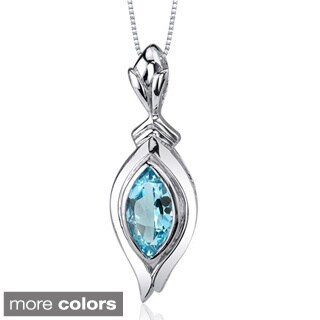 Oravo Sterling Silver Marquise-cut Gemstone Necklace (2 options available)