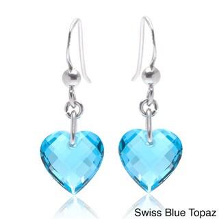 Oravo Sterling Silver Heart-shape Gemstone Earrings