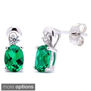 Oravo Sterling Silver Oval Gemstone Stud Earrings