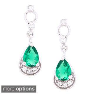 Oravo Sterling Silver Pear-cut Gemstone Earrings