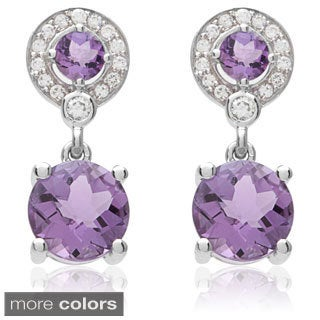 Oravo Sterling Silver Round-cut Gemstone Earrings