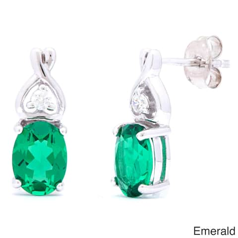 Oravo Sterling Silver Oval-cut Gemstone Earrings