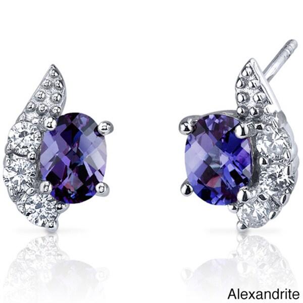 Oravo Sterling Silver Oval Shape Gemstone Earrings