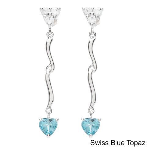 Oravo Sterling Silver Gemstone Heart Dangle Earrings