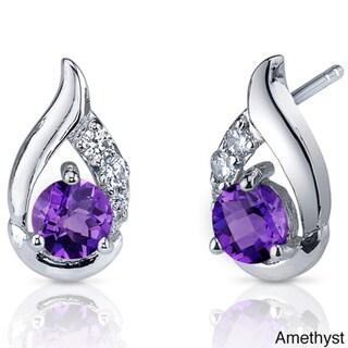 Link to Oravo Sterling Silver Round Gemstone Stud Earrings Similar Items in Earrings