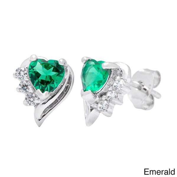 Oravo Sterling Silver Heart-cut Gemstone Stud Earrings. Opens flyout.