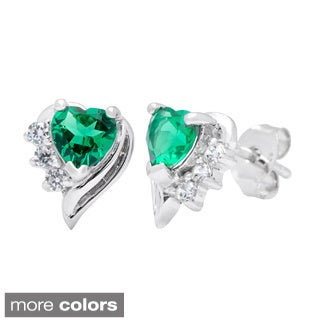 Oravo Sterling Silver Heart-cut Gemstone Stud Earrings
