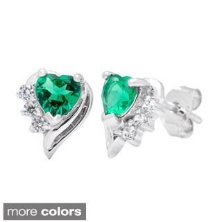 Oravo Sterling Silver Heart-cut Gemstone Stud Earrings
