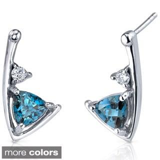 Oravo Sterling Silver Trillion Shape Gemstone Stud Earrings