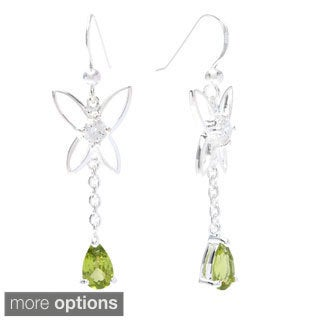 Oravo Sterling Silver Pear-cut Gemstone Dangle Earrings
