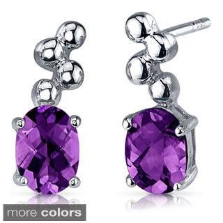 Oravo Sterling Silver Oval-cut Gemstone Dangle Earrings