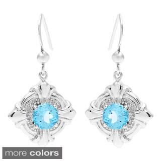 Oravo Sterling Silver Round-cut Gemstone Dangle Earrings