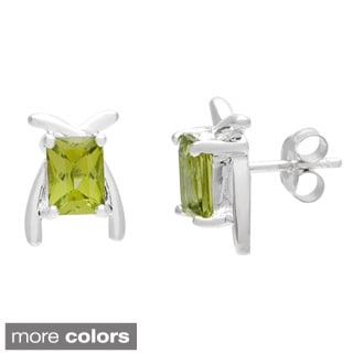 Oravo Sterling Silver Radiant-cut Gemstone Earrings