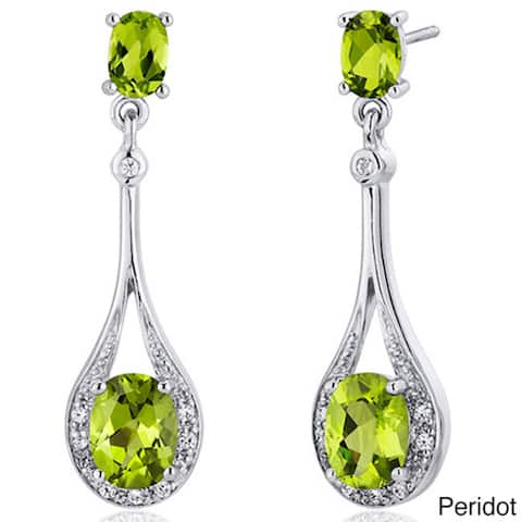 Oravo Sterling Silver Oval-cut Prong-set Gemstone Earrings