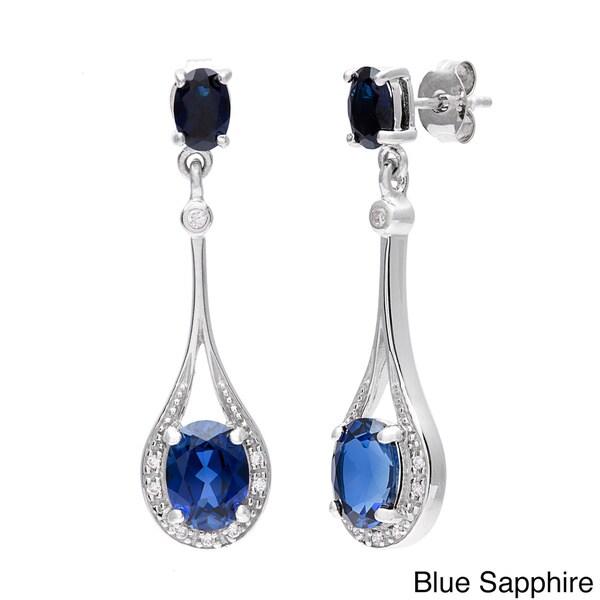 Oravo Sterling Silver Oval-cut Prong-set Gemstone Earrings