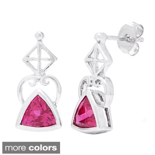 Oravo Sterling Silver Trillion-cut Gemstone Earrings