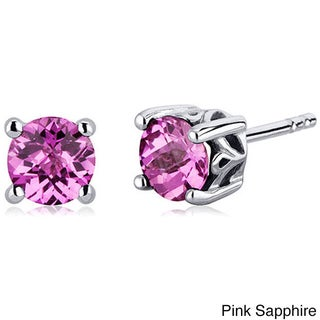 Oravo Sterling Silver Round-cut Gemstone Earrings (More options available)