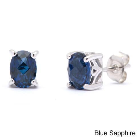 Oravo Sterling Silver Oval-cut Gemstone Earrings