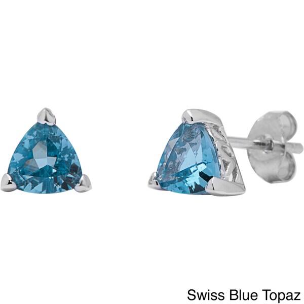 Oravo Sterling Silver Trillion-cut Earrings. Opens flyout.
