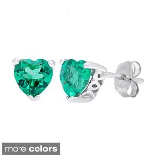 Oravo Sterling Silver Heart-cut Gemstone Earrings
