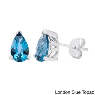 Link to Oravo Sterling Silver Pear-cut Gemstone Stud Earrings Similar Items in Earrings
