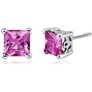 Oravo Sterling Silver Princess-cut Gemstone Earrings (5 options available)