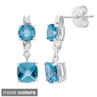 Oravo Sterling Silver Cushion-cut Gemstone Earrings