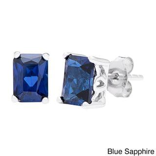 Link to Oravo Sterling Silver Radiant-cut Gemstone Stud Earrings Similar Items in Earrings