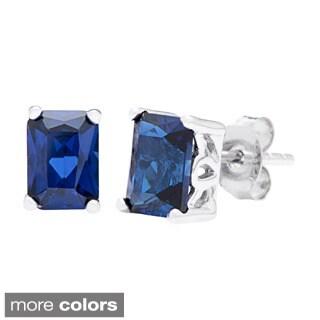 Oravo Sterling Silver Radiant-cut Gemstone Stud Earrings