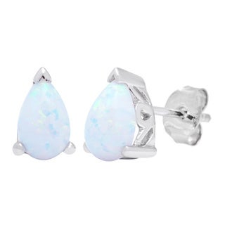 Oravo Sterling Silver Pear-cut Opal Earrings
