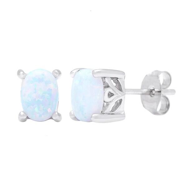 Oravo Sterling Silver Oval-cut Opal Earrings