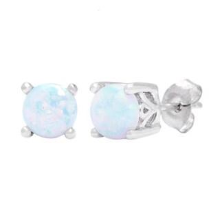 Oravo Sterling Silver Round-cut Opal Earrings