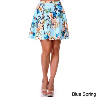 White Mark Women's Floral Flared Skirt