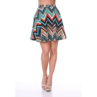 White Mark Women's Chevron Print Flared Skirt