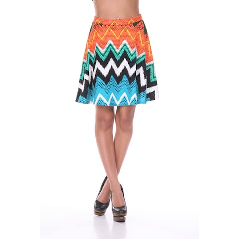 White Mark Women's Multicolor Chevron Flared Skirt