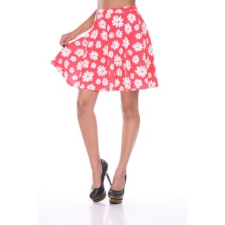 White Mark Women's Floral Print Flared Skirt