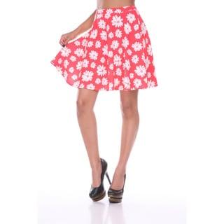 White Mark Women's Floral Print Flared Skirt