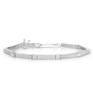 Eloquence Sterling Silver 3/4ct TDW Diamond Link Bar Bracelet (H-I, I2-I3)