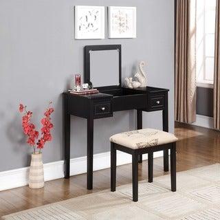 Linon Alessandra Black Vanity Table with Mirror & Stool