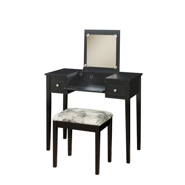 Linon Alessandra Black Vanity Table With Mirror Amp Stool