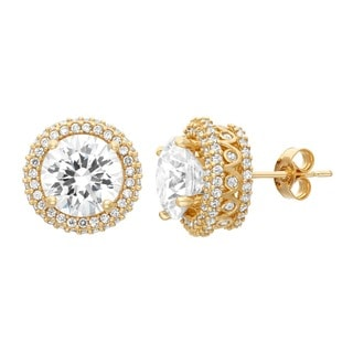Gioelli 10KT Gold 8.84 tcw 8mm Designer Pave CZ Earrings