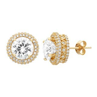 Gioelli 10KT Gold 8.84 tcw 8mm Designer Pave CZ Earrings|https://ak1.ostkcdn.com/images/products/9313569/P16474283.jpg?impolicy=medium