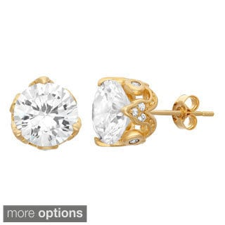Gioelli 10KT Gold 7.28 tcw 8mm CZ Fashion Stud Earrings
