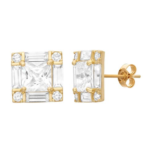 Gioelli 10KT Gold 7.08 tcw Sorrounded Princess CZ Earrings