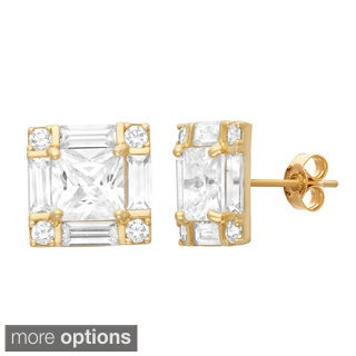 Gioelli 10KT Gold 7.08 tcw Sorrounded Princess CZ Earrings