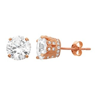 Gioelli 10KT Gold 4.94 tcw 7mm Round Fancy CZ Earrings
