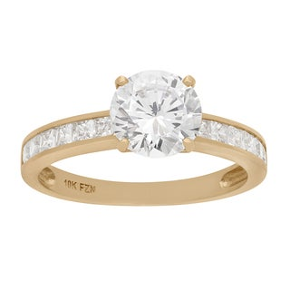 Gioelli 10KT Gold 4.56 tcw 8mm CZ with Channel Stones Ring