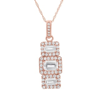 Gioelli 10KT Gold 2.77 tcw Triple Emerald-cut Pave CZ Necklace