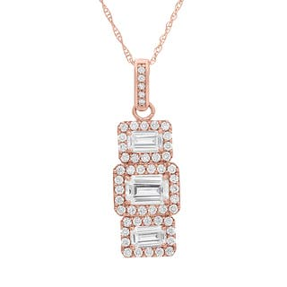 Gioelli 10KT Gold 2.77 tcw Triple Emerald-cut Pave CZ Necklace|https://ak1.ostkcdn.com/images/products/9313642/P16474525.jpg?impolicy=medium