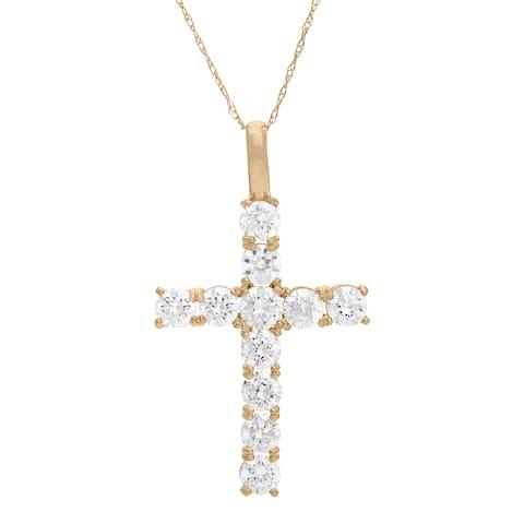 Gioelli 10KT Gold 1.98 tcw Round CZ Cross Pendant